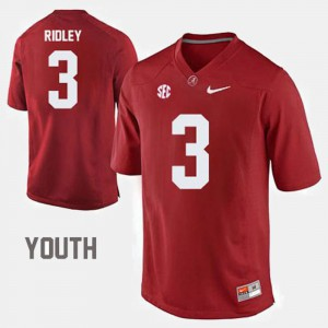 Youth(Kids) Roll Tide #3 Calvin Ridley Red College Football Jersey 129795-494