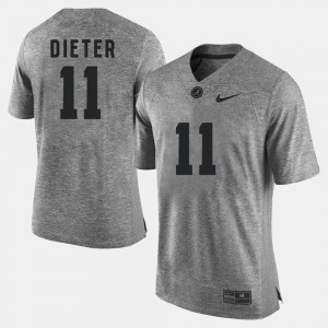 Mens Alabama Roll Tide #11 Gehrig Dieter Gray Gridiron Gray Limited Gridiron Limited Jersey 707355-395