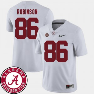 Men Alabama Roll Tide #86 A'Shawn Robinson White College Football 2018 SEC Patch Jersey 365579-807
