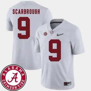 Mens Bama #9 Bo Scarbrough White College Football 2018 SEC Patch Jersey 261601-724
