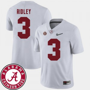 Mens Alabama Roll Tide #3 Calvin Ridley White College Football 2018 SEC Patch Jersey 660091-449