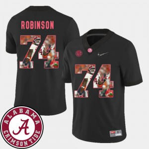 For Men's Alabama Roll Tide #74 Cam Robinson Black Pictorial Fashion Football Jersey 498673-259