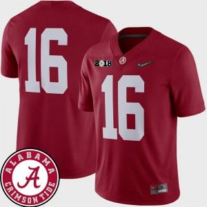 For Men's University of Alabama #16 Crimson College Football 2018 National Championship Playoff Game Jersey 813103-699