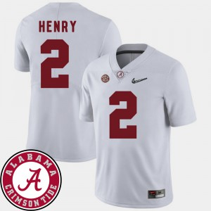 For Men Bama #2 Derrick Henry White College Football 2018 SEC Patch Jersey 446305-624