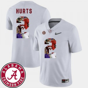 For Men's University of Alabama #2 Jalen Hurts White Pictorial Fashion Football Jersey 367625-908