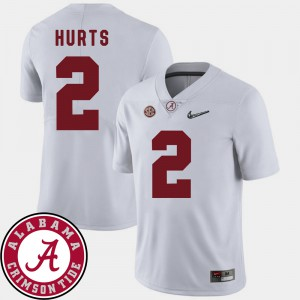 For Men University of Alabama #2 Jalen Hurts White College Football 2018 SEC Patch Jersey 209011-203
