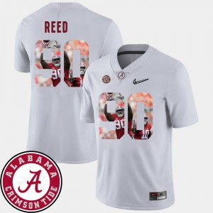 For Men Alabama Roll Tide #90 Jarran Reed White Pictorial Fashion Football Jersey 124949-519