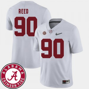 For Men Alabama #90 Jarran Reed White College Football 2018 SEC Patch Jersey 811486-882