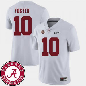 For Men University of Alabama #10 Reuben Foster White College Football 2018 SEC Patch Jersey 771632-805