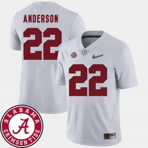 Men's Alabama #22 Ryan Anderson White College Football 2018 SEC Patch Jersey 820285-200
