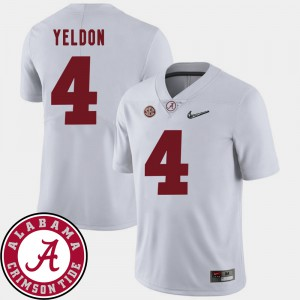 For Men's Roll Tide #4 T.J. Yeldon White College Football 2018 SEC Patch Jersey 627526-261